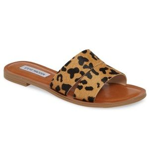 Steve Madden Leopard Calf Hair Slide Sandals